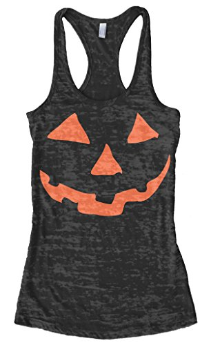 Threadrock Women's Orange Halloween Pumpkin Face Burnout Racerback Tank Top M Black ()