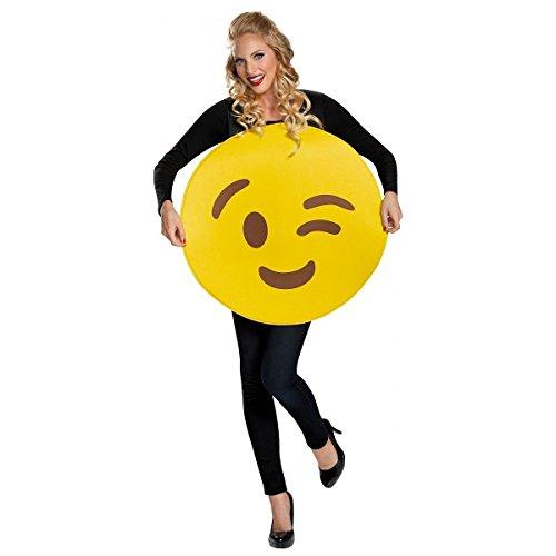 [Wink Emoticon Costume Adult Funny Emoticon Smiley Face Halloween Fancy Dress] (Emoticon Wink Costumes)