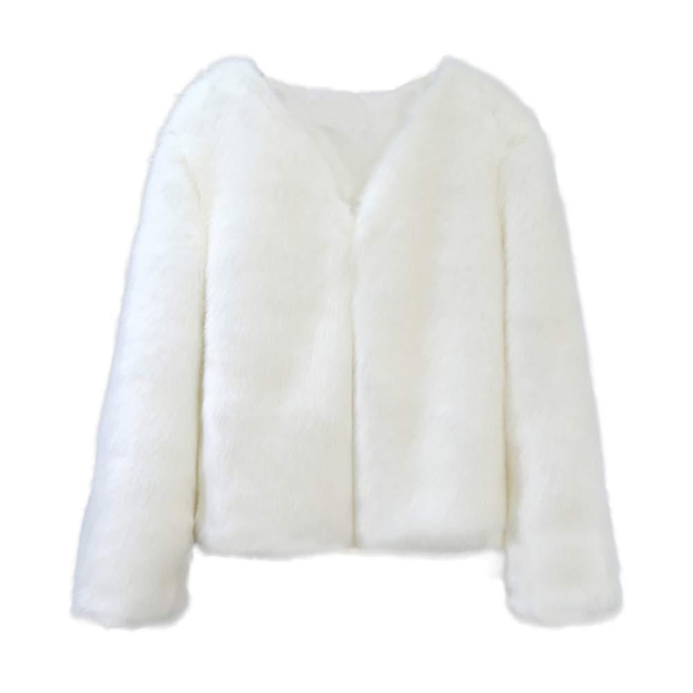 Drfoytg Women Solid Jacket Fuzzy Faux Fur Coat Warm Oversized Cardigan Winter