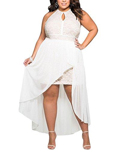 Lalagen Women\'s Plus Size Halter White Lace Wedding Party ...
