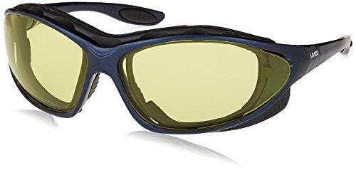 Uvex S0622X Seismic Safety Eyewear, Metallic Blue Frame, Amber Uvextra Anti-Fog Lens/Headband