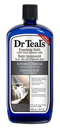 Dr Teal's Activated Charcoal & Lava Foaming Bath with Pure Epsom Salt, 34 oz ()