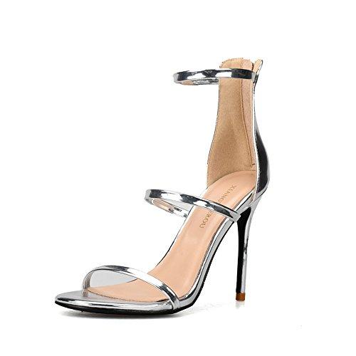 Fine Dimensioni Silver cm Parola Tacco Sandali 8 Colore in Tacco Sexy 38 Alto Toe Open Scarpe Cinturino Romani Donna da ZvwqSUx