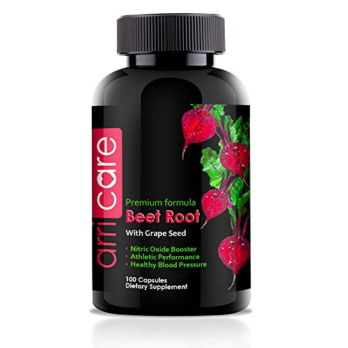 Beet Root Powder Capsules Best Nitric Oxide Booster Supplement Promote Cardiovascular Health and Increase Performance with Grape Seed Extract 100 Capsules