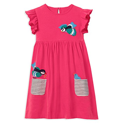 VIKITA Toddler Girl Animal Stripe Cotton Long Sleeve Dress Baby Girls Winter Casual Dresses 2-8 Years (6T, SKM002) -