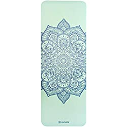 "Incline Fit High Density Extra Thick & Long Comfort Foam Exercise Yoga Mat for Pilates, Fitness & Workout with Carrying Strap, 72"" x 24"" x 1/2"", Teal Mandala"