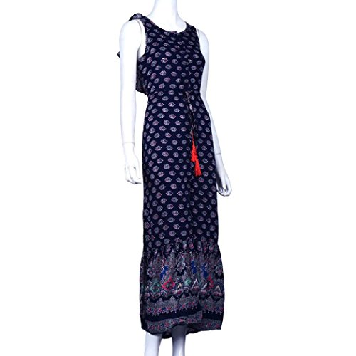Gotd Women Sexy Strap Backless Sleeveless Split Open Fork Dress Dark Blue (L) by Goodtrade8 (Image #4)