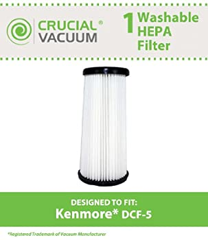 Kenmore DCF-5 Washable Allergen Filtration HEPA Filter; Fits All Kenmore Quick Clean Models including K37000, 3900; Replaces Kenmore DCF5 Part # 618683, 02080011000, 02039000000; Designed & Engineered by Crucial Vacuum