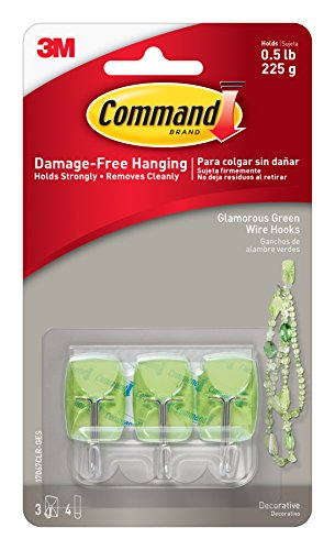 Command Wire Hooks, Small, Glamorous Green, 3-Hooks (17067CLR-GES)