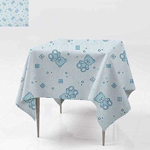 - AndyTours Spill-Proof Table Cover,Nursery,Teddy Bears and Toys with Letters on Children Imagery Baby Blue Background,Table Cover for Kitchen Dinning Tabletop Decoratio,54x54 Inch Baby Blue Aqua
