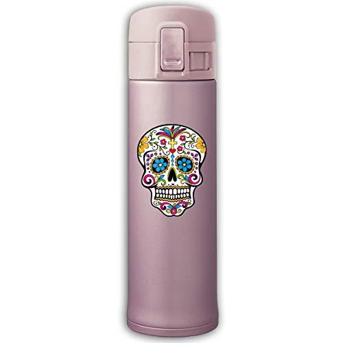 Stainless Steel Mug Flower Eyes Sugar Skull Bouncing Cover Insulation Vacuum Cup Bottle Thermos Mug Pink