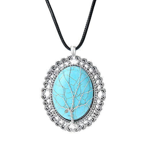 Turquoise Stone Tree of Life Stainless Steel Wire Wrapped Gold Necklace Pendant for Women with Gift Box (Blue)