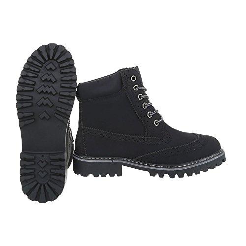 a Chaussures H925 Lacet Design Noir Bottines Ital Bottes Bloc Femme et Bottines wgzqz85P