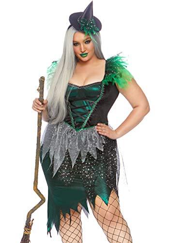 Leg Avenue Women's Plus Size 2 Pc Wicked Witch Costume, Green/Black, 1X-2X]()