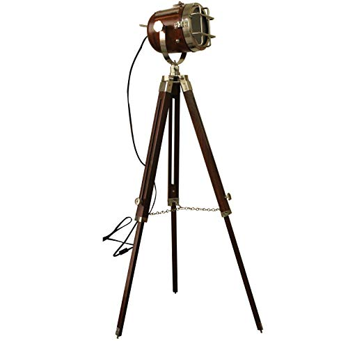 Vintage Searchlight Marine Nautical Look Spotlight Retro Brown Wooden Tripod Searchlight by Collectibles Buy (Image #1)