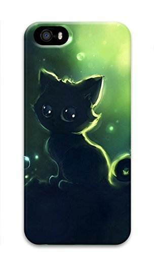3D Hard Plastic Case With Iphone 5/5S 5G,Black Kitty Cat Case Back Cover for iPhone 5 5S