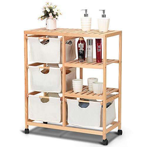 Giantex Wood Hamper Storage Cart 2 Section Rolling Storage Shelf Unit W/4 Fabric Drawers Basket and 4 Wheels Home Furniture ()