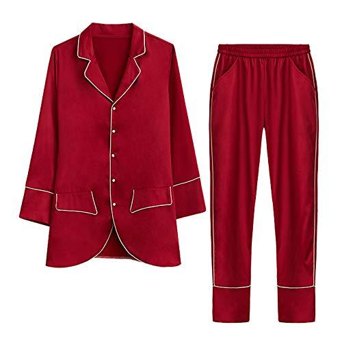 Comodo Semplice Pigiameria Donna Da Pigiama Seta Camicie Pigiami Rosso Stile s Primavera Autunno Cxcx Vino Sciolto Notte Camicia Cardigan qaYTxwEn