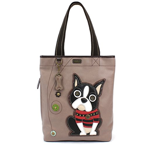 Chala Handbag Everyday Tote - Boston Terrier Warm Grey (Bag Baby Boston)