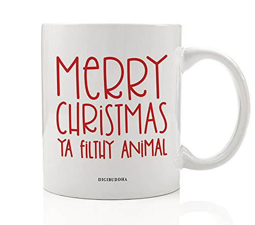 (Merry Christmas Ya Filthy Animal Mug Gift Funny Kid Alone Seasonal Holiday Movie Present Idea for Child Children Friend Family Member Coworker 11oz Ceramic Coffee Beverage Tea Cup by Digibuddha DM0543 )