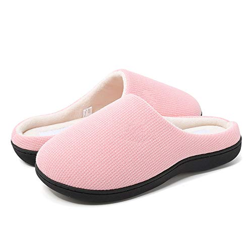 HuangWeida Women's Two-Tone Memory Slippers Foams Shoes Fluffy Slippers (9-10 US Women's) Pink