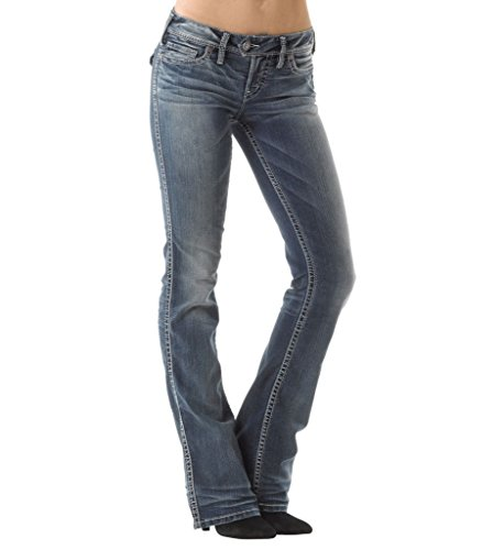 Silver Jeans Women Tuesday Low Rise Bootcut Slim Hip & Thigh Stretch in Med Blue (Womens Silver Tuesday Jeans)