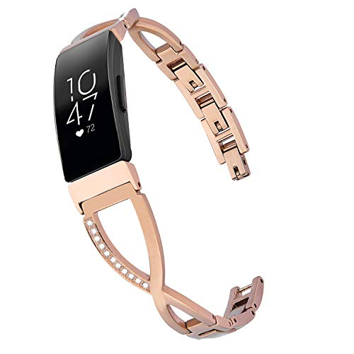 V-MORO Bracelet Compatible with Fitbit Inspire HR Bands Women Rose Gold Jewelry Inspire Band Metal Stainless Steel Strap with Bling Stone Replacement for Fitbit Inspire/Inspire HR Smartwatch