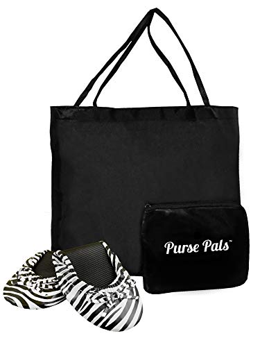 (Solemates Purse Pal Foldable Bowed Ballet Flats w/Expandable Tote Bag for Carrying Heels (Medium (7-8.5), Zebra (White with Black Zebra Stripes)))