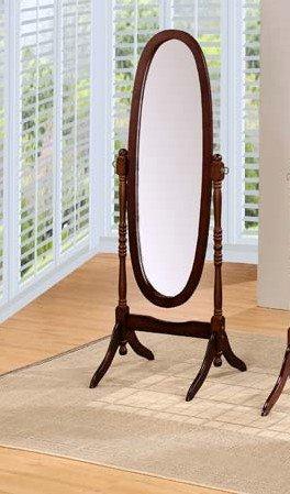 Espresso finish wood free standing cheval floor mirror