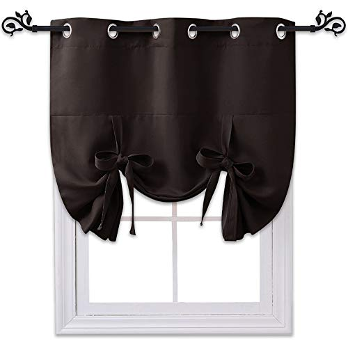 (NICETOWN Balloon Curtain Panel for Door - Tailored Tie Up Shade Blackout Blind (Grommet Top Panel, 46