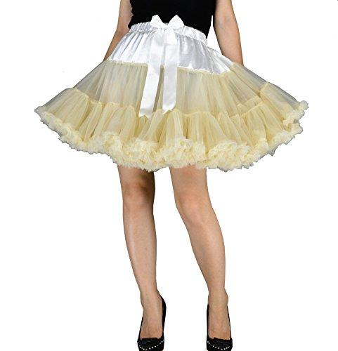 YSJ Women's Pettiskirt 3-Layered Tutu Chiffon Petticoat Pleated Mini Skirt (Beige), One Size