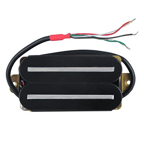 FLEOR High Output Dual Hot Rail Humbucker Pickup 57mm Rail Ceramic Electric Guitar Pickup Humbucker with 4 Wires, Black