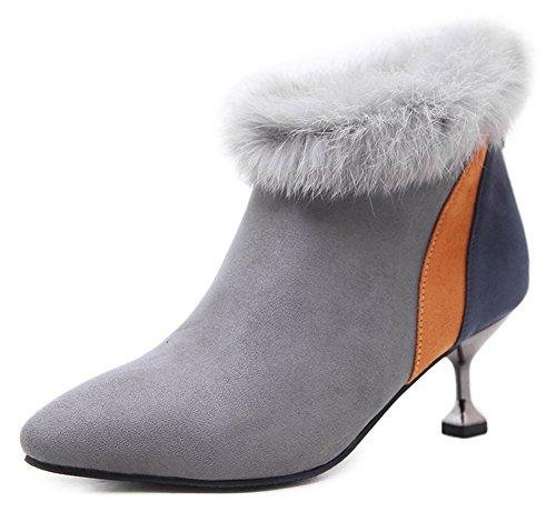 Kitten Spitz Heel Reißverschluss Grau Zehen Stiefel Mit Kurzschaft Damen Aisun Kunstfell Kontrastfarben I7Z11q