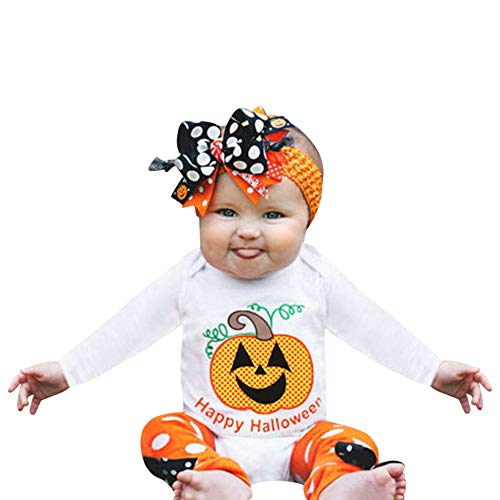 Clearance Infant Toddler Halloween Party Pumpkin Printed Romper - vermers Baby Long Sleeve Jumpsuit Clothes(12M, White) -