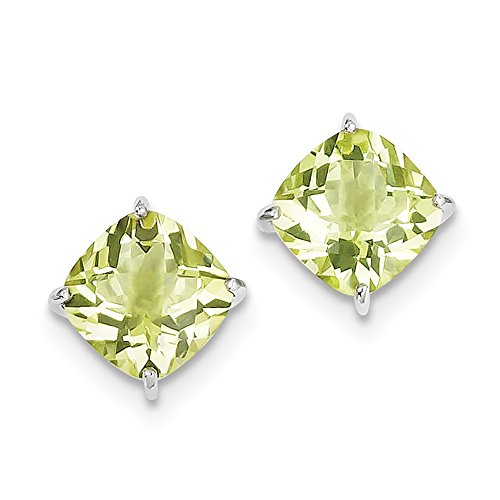 - 925 Sterling Silver Rhodium-plated Lemon Quartz Earrings