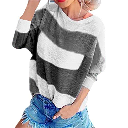 UONQD D Women Patchwork O-Neck Sweaters Casual Stripe Long Sleeve Loose Tops Blouse