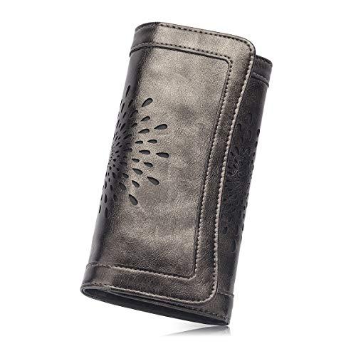 ad9b4f30b866 Women's Soft Leather Purse RFID Blocking Wallet Lady Credit Card ...