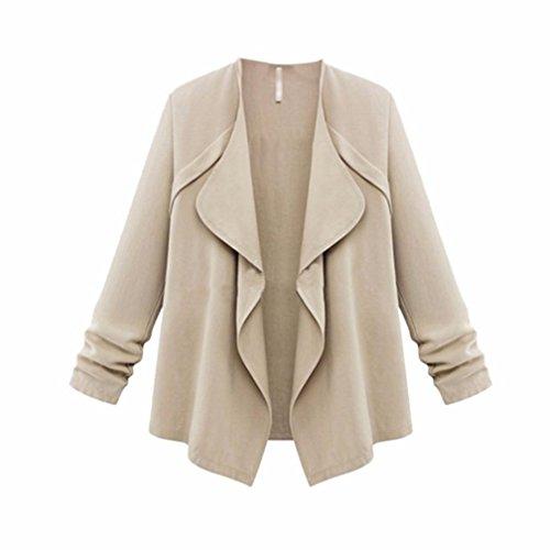 Egmy Women Autumn Solid Long Sleeve Loose Plus Coat Cardigan Khaki sRJplmMKR