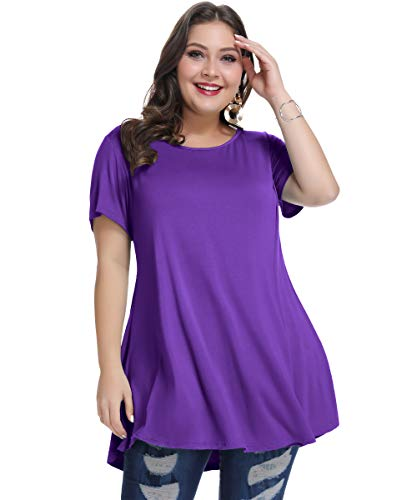 (MONNURO M 新品 Womens Short Sleeve Casual Loose Fit Flare Swing Tunic Tops Basic T-Shirt Plus Size(Deep Purple, L))