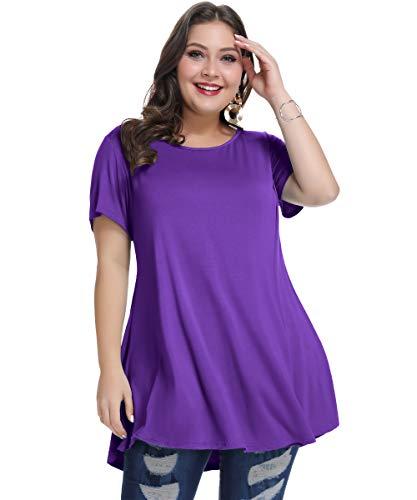 MONNURO M 新品 Womens Short Sleeve Casual Loose Fit Flare Swing Tunic Tops Basic T-Shirt Plus Size(Deep Purple, 3X)