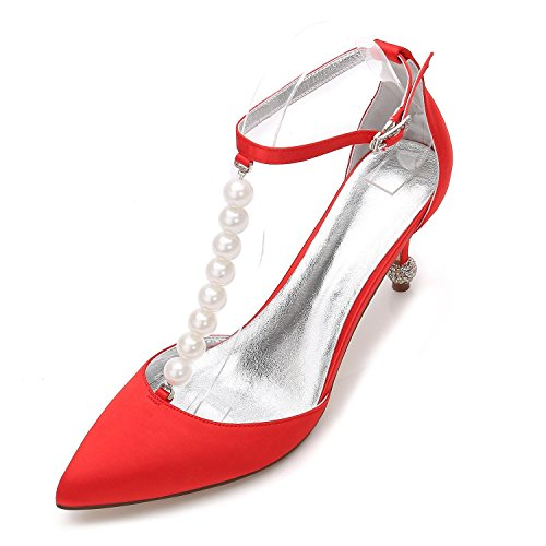 Zapatos Para La 3 Mid Kitten Bombas 37 F17767 Talón Plataforma yc De Low Trabajo Corte Boda 8 Mujer Red Stiletto Talla L nZFI8qHz