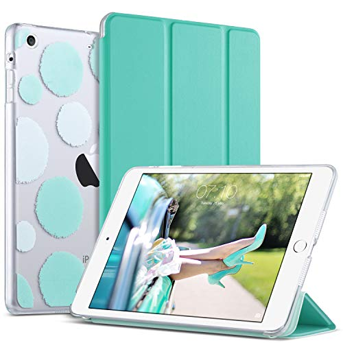 (iPad Mini 3 Case,iPad Mini 2 Case,iPad Mini Case,ULAK Slim Bumper Smart Case Stand for Apple iPad Mini 1/2/3 Colorful Clear Back Cover Lightweight with Auto Sleep/Wake Function, Mint Green)