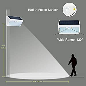 AmaGo Solar Wall Lights - 60 White LEDs of Wide Range, 1,300 Lumens, Five-Mode Illumination Via Remote Control, Motion Radar Sensor, Solar Rechargeable, Waterproof, Easy Installation (White Case)