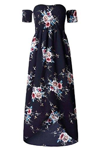 Split Strapless Purplish Women Fit Maxi Floral Dress Wrap Blue Beach Fashion Coolred ABIwYZqv