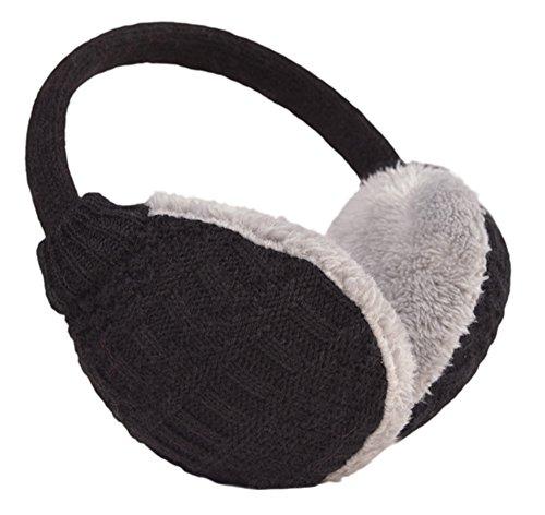 Knolee Unisex Knitting EarMuffs Faux Furry Earwarmer Winter Outdoor EarMuffs,Black