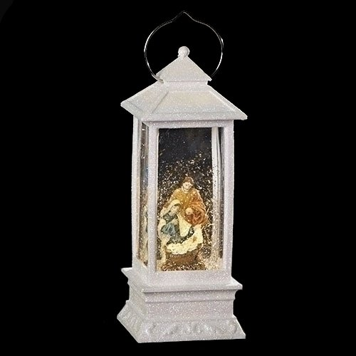 White Lighted Holy Family LED 11 Inch Acrylic Lantern Holiday Glitter Globe