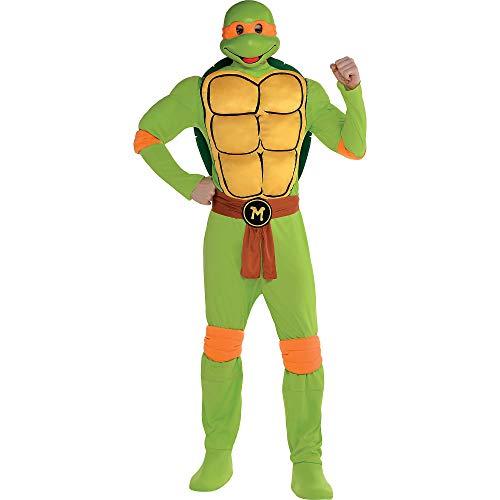 Amscan Teenage Mutant Ninja Turtles Michelangelo Muscle Halloween Costume for Men, Standard, with Included Accessories]()