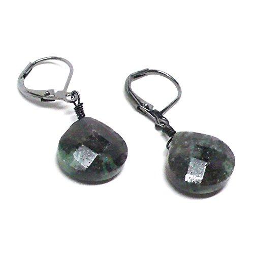 Earrings Ruby Briolette - Ruby in Zoisite Briolette Lever Back Earrings Gunmetal