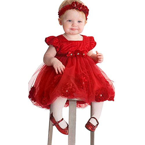 LLNONG - Toddler Baby Girls Princess Flower Lace Dresses (80, Red) by LLNONG