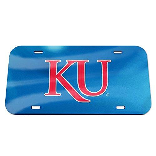 Crystal Mirror Logo KU License Plate, Team Color, One Size (Kansas Crystal)